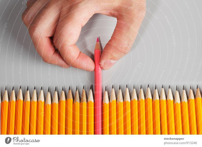 Farbe Hand feminin außergewöhnlich rosa Finger Reihe Verschiedenheit Homosexualität Bleistift ziehen Objektfotografie hinterherziehend
