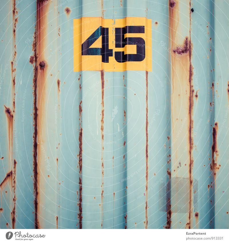 fünfundvierzig Verkehr Güterverkehr & Logistik Metall Zeichen Ziffern & Zahlen Schilder & Markierungen Linie Streifen blau gelb orange 45-60 Jahre Geburtstag
