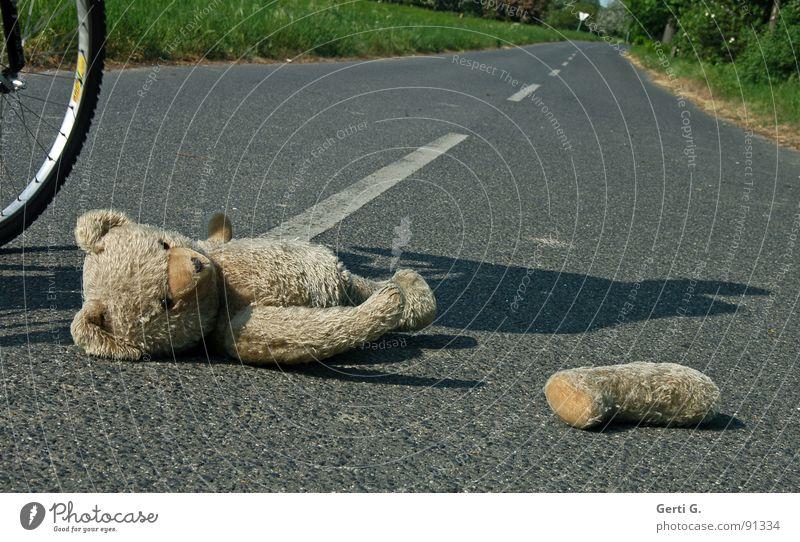 simulation Straße Wege & Pfade Fahrrad gefährlich Spuren Spielzeug Verkehrswege verloren Unfall Behinderte Erste Hilfe Hilfsbedürftig Bär Versicherung Teddybär