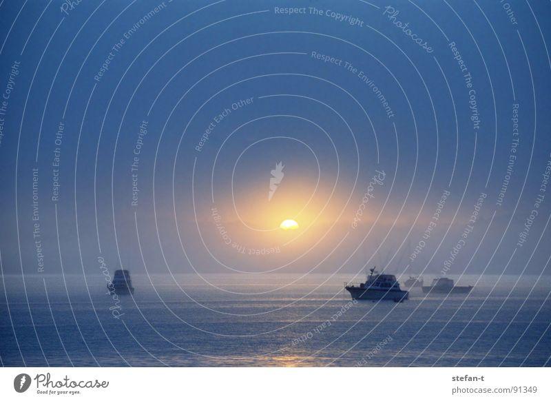licht am horizont Nebel Wasserfahrzeug Sportboot Meer Monochrom Stimmung ruhig Horizont Reflexion & Spiegelung diffus himmelblau Silhouette Neuseeland Nordinsel