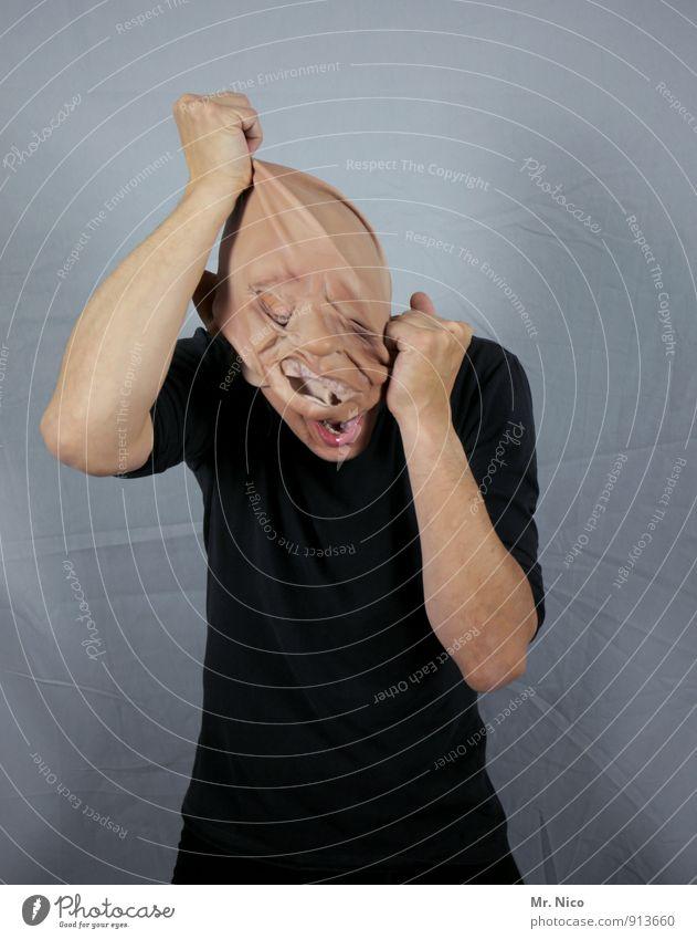 frank ´n´ stein Mensch schwarz Gesundheit Kopf maskulin Angst Haut Arme verrückt Körperhaltung Wut gruselig Schmerz Maske Karneval schreien
