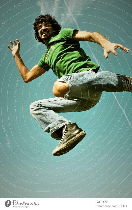 Raubkatze springen Luft steil gefährlich Angriff attackieren Sommer Wahnsinn Funsport fliegen hoch Himmel Dynamik Wildtier Ferid Denken Freiheit Gefühle Freude