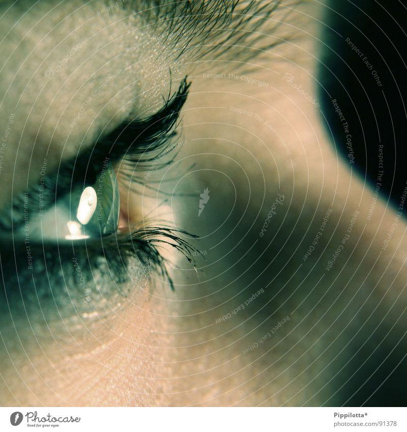 quizzical Mädchen Gesicht Auge Konzentration Schminke Wimpern Pupille