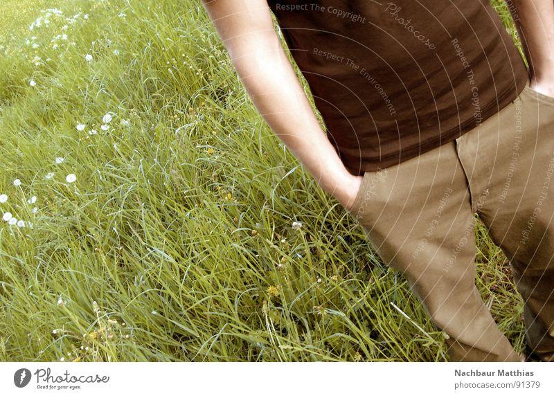 feel free Mann Natur Jugendliche Blume grün Freude ruhig Erholung Wiese Freiheit Glück braun Hoffnung Lebensfreude Unterleib