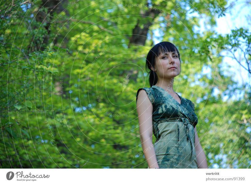 waldelfe Frau Himmel Natur grün schön Baum Gesicht Wald Märchen Elfe Prinzessin