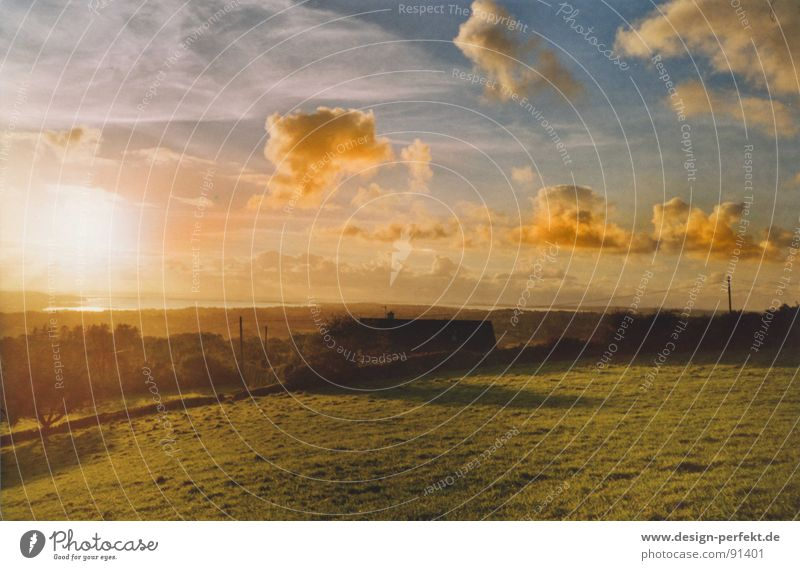 Irische Märchenstimmung Himmel Wolken Wiese Wetter Weide Abenddämmerung Republik Irland