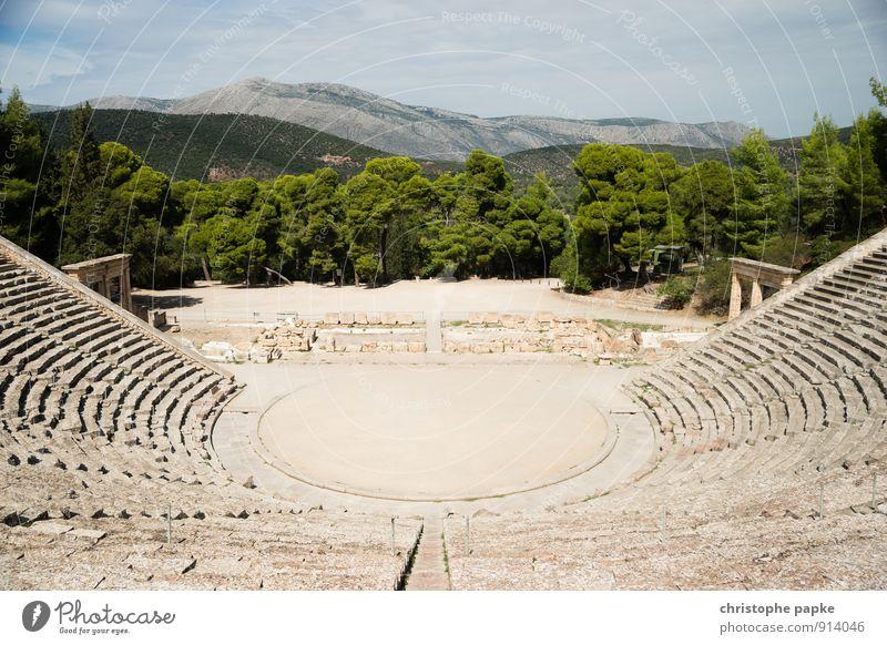 Theater von Epidauros Ferien & Urlaub & Reisen Tourismus Ausflug Sightseeing Sommer Sommerurlaub Berge u. Gebirge Epidaurus Griechenland Bauwerk Architektur