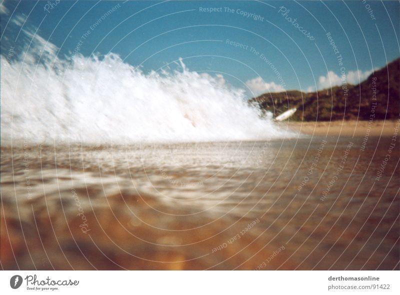 Strand-Makro Wasser Sonne Meer Sommer Ferien & Urlaub & Reisen kalt Spielen Stil Bewegung Sand Regen Küste Wellen klein Wind