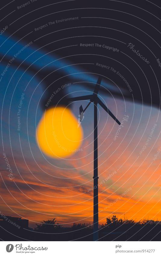 stromkreis Kabel Glühbirne Windkraftanlage Technik & Technologie Fortschritt Zukunft Erneuerbare Energie Umwelt Himmel Schönes Wetter hell gelb orange