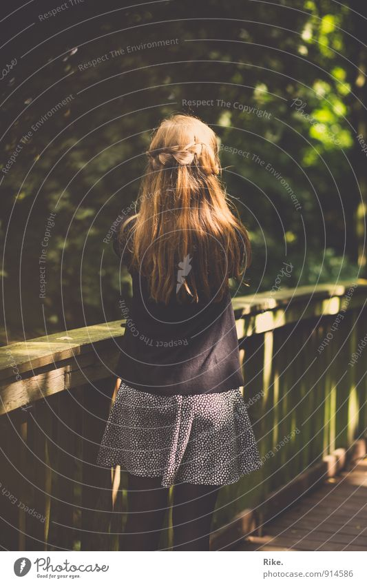 Zurück. Mensch feminin Junge Frau Jugendliche Erwachsene Rücken 1 13-18 Jahre Kind 18-30 Jahre Natur Park Brückengeländer Rock Kleid Haare & Frisuren blond