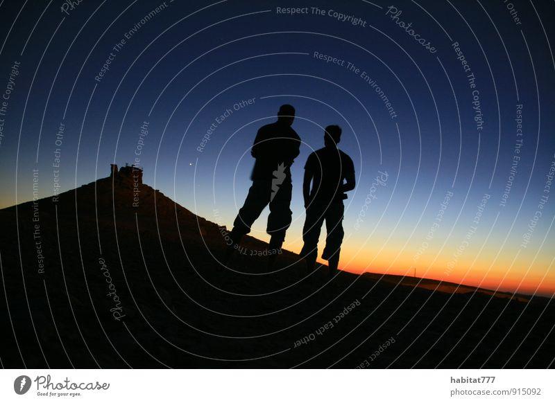 stille Momente Mensch Natur Landschaft beobachten fantastisch Schönes Wetter Nachthimmel demütig