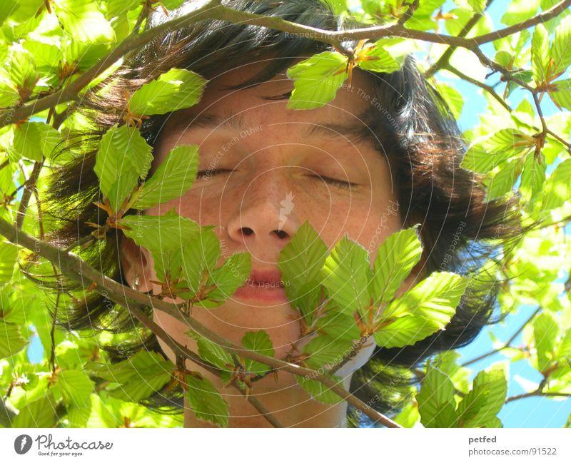 Dschungelkind II grün Gesicht ruhig Blatt Auge Gefühle Frühling träumen Ast