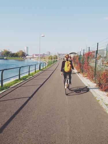 when you were young. Ferien & Urlaub & Reisen Ausflug Fahrradfahren feminin Junge Frau Jugendliche 1 Mensch 18-30 Jahre Erwachsene Kanal Malmö Schweden