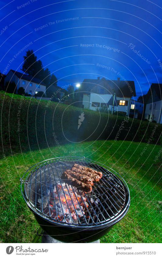 Spätabendgrillen blau Stadt grün Haus Garten Lebensmittel Feuer Rasen gut Rauch Abenddämmerung Grillen Fleisch Abendessen Hecke