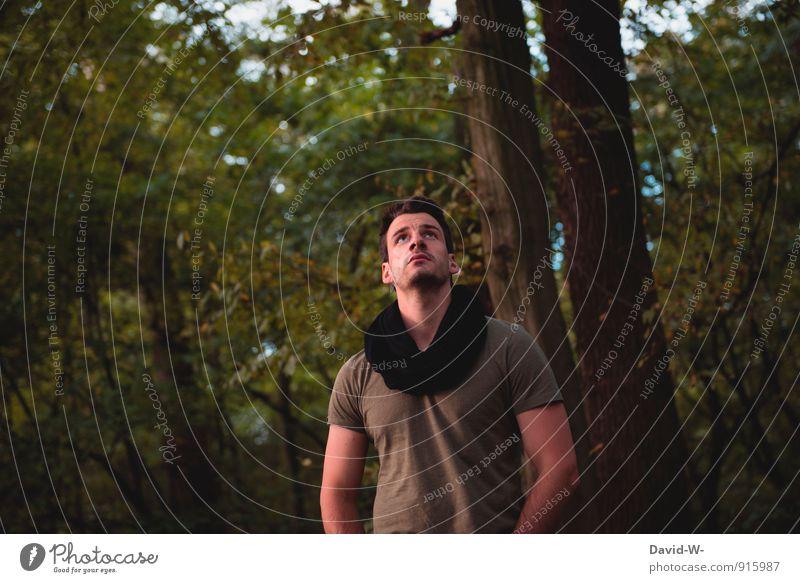 Naturbursche Jugendliche Mann grün Erholung ruhig 18-30 Jahre Wald Erwachsene Leben Stil träumen maskulin elegant Idylle wandern
