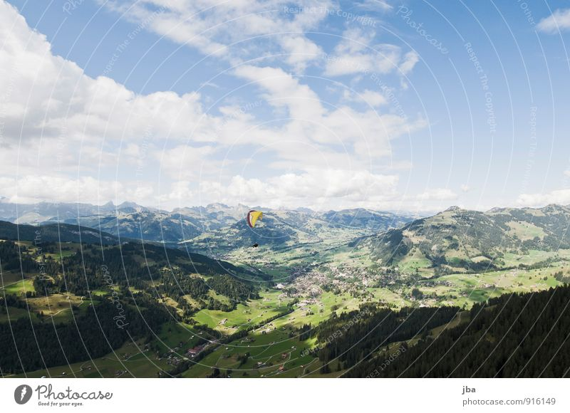 Flug über Gstaad Sommer Landschaft ruhig Berge u. Gebirge fliegen Luft Ausflug Alpen Fluggerät Gleitschirmfliegen Saanenland Flugsportarten Berner Oberland