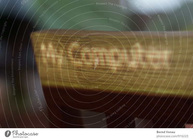 Regie Wohnung Möbel Stuhl Computer Technik & Technologie Holz braun grau Beamer Stuhllehne Projektion Bildpunkt Wort Navigation digital Maserung Farbfoto