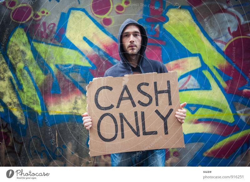 No Paypal Mensch Kind Jugendliche Mann Junger Mann dunkel Erwachsene Gesicht Traurigkeit Graffiti Stil Stimmung maskulin Lifestyle Freizeit & Hobby