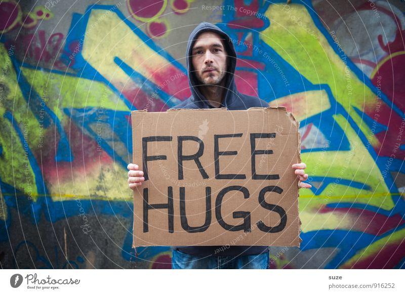 Lieber nicht?! Mensch Jugendliche Mann Junger Mann Erwachsene Traurigkeit Graffiti Liebe lustig Stil Stimmung Lifestyle Freundschaft maskulin Freizeit & Hobby Schilder & Markierungen
