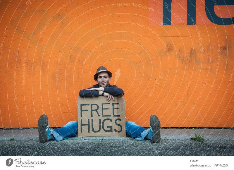 Das Angebot steht ... Lifestyle Stil Freude Glück Freizeit & Hobby Valentinstag Mensch maskulin Junger Mann Jugendliche Erwachsene Freundschaft Hut