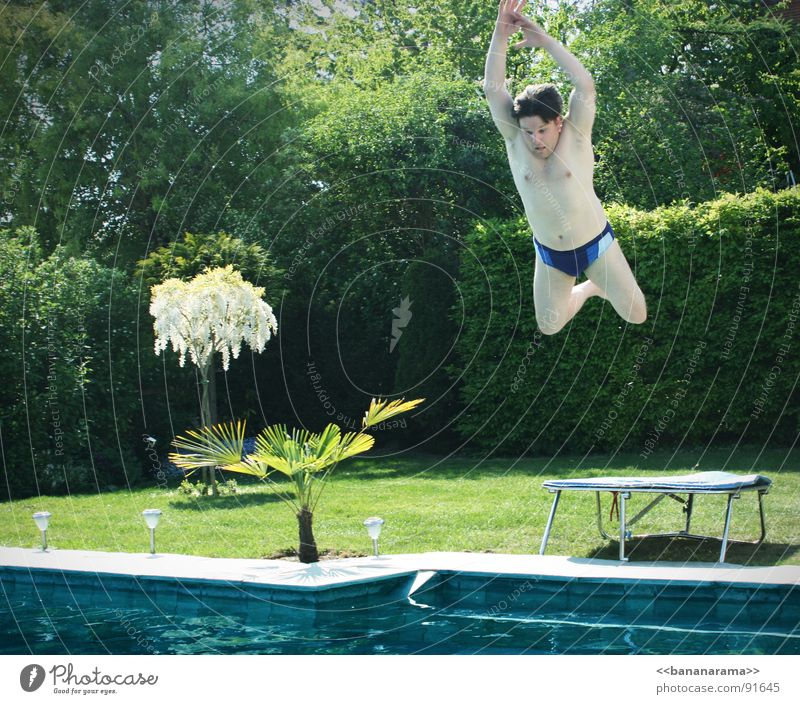 Mein Vadda macht ne Banane Schwimmbad springen Kopfsprung Sommer Trampolin Luft Frühling Abheben Wohnung Sport Spielen Wasser Schwimmen & Baden der Abgeher