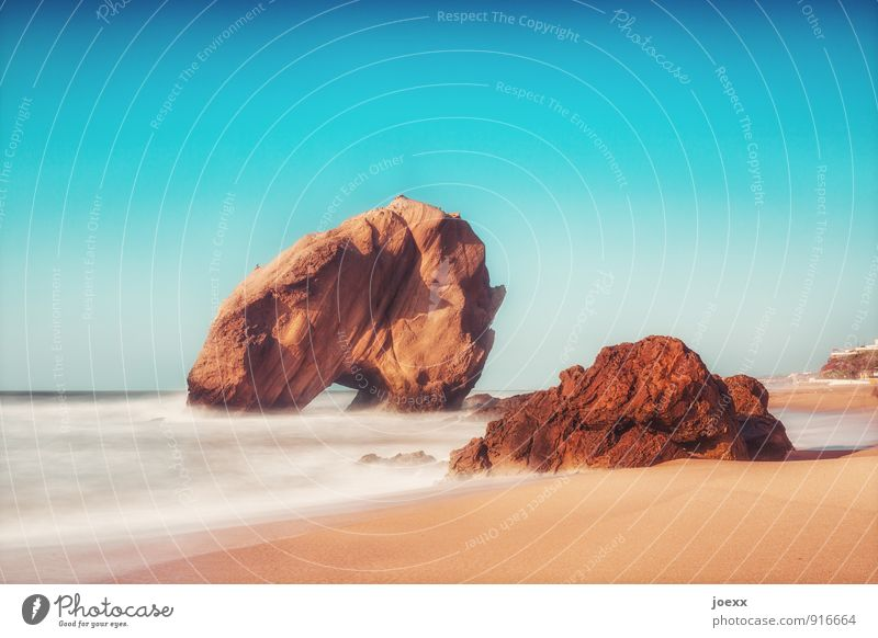 I'll be back. Ferien & Urlaub & Reisen blau weiß Wasser Sommer Meer Landschaft Strand Küste Stein braun Felsen Horizont wild Wind groß