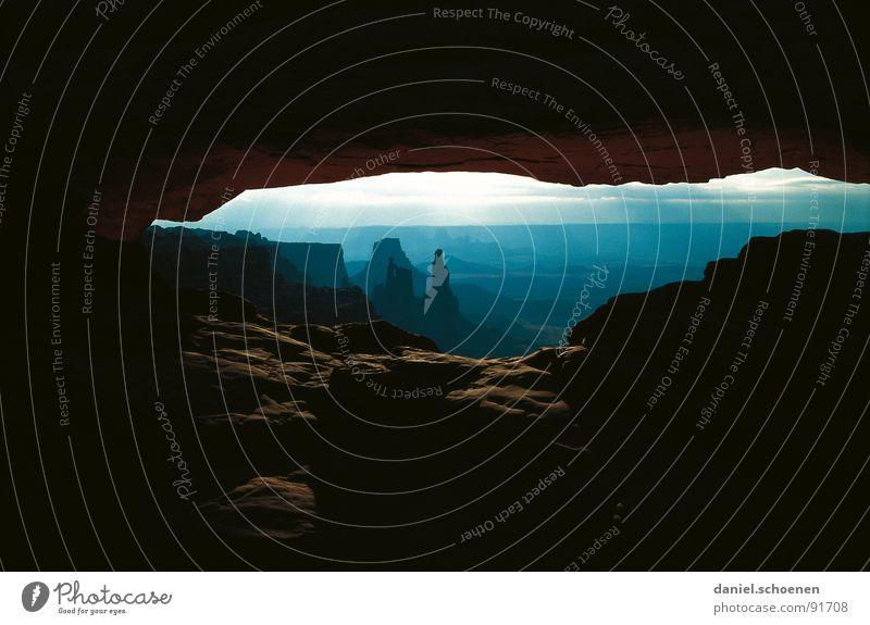 wilder westen Himmel Sonne blau Ferien & Urlaub & Reisen schwarz dunkel Stein braun Hintergrundbild Horizont Felsen USA Aussicht Schlucht Nationalpark beeindruckend