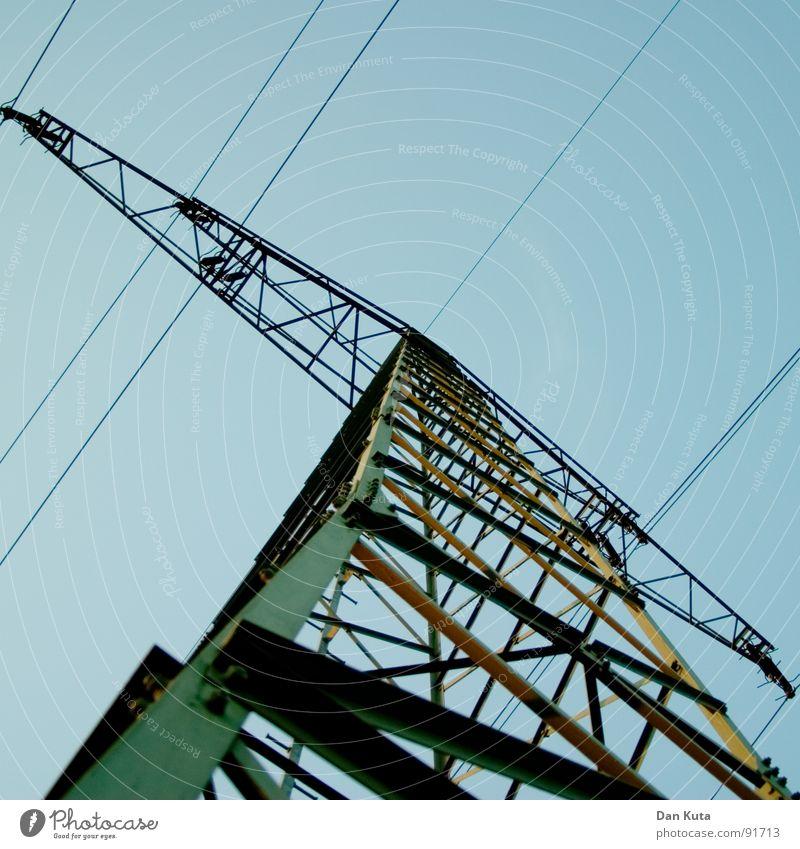 Hakennase Elektrizität edel dünn zierlich offen Draht Strommast aufregend Bauwerk Leitung Froschperspektive unten zentral Mitte Geometrie auf dem Kopf Himmel