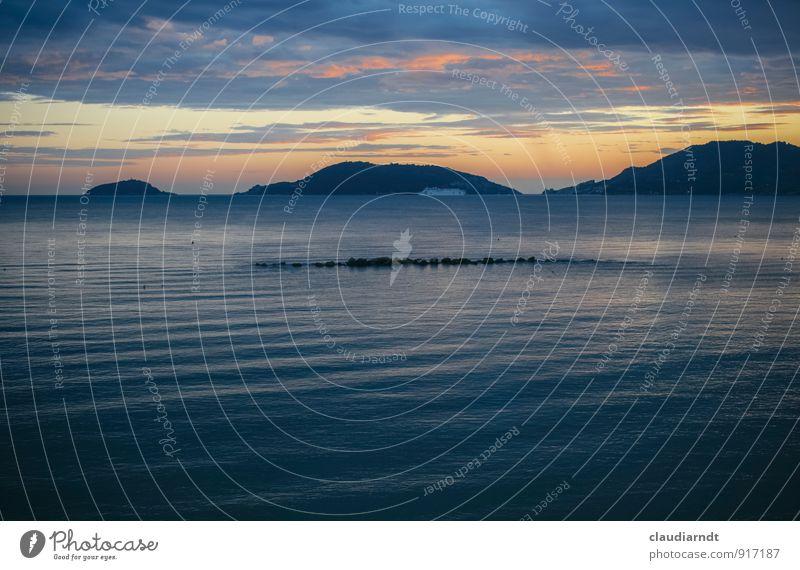 Golf der Poeten Natur Landschaft Wasser Himmel Wolken Sonnenaufgang Sonnenuntergang Sommer Küste Bucht Meer Mittelmeer Lerici Italien Kitsch schön blau gelb