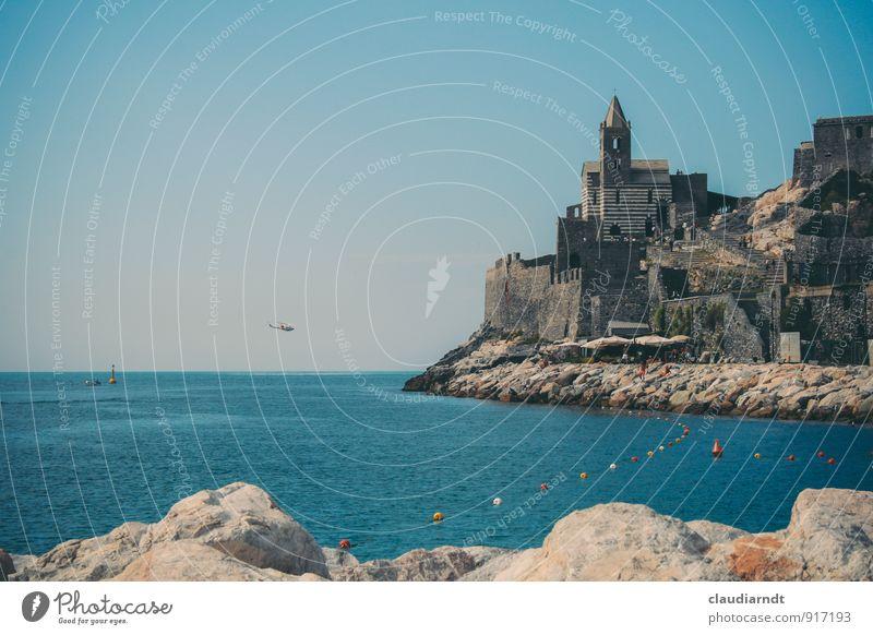 San Pietro Himmel Natur alt blau Sommer Meer Landschaft Küste Religion & Glaube Felsen Europa Kirche Schönes Wetter Turm Italien Schutz