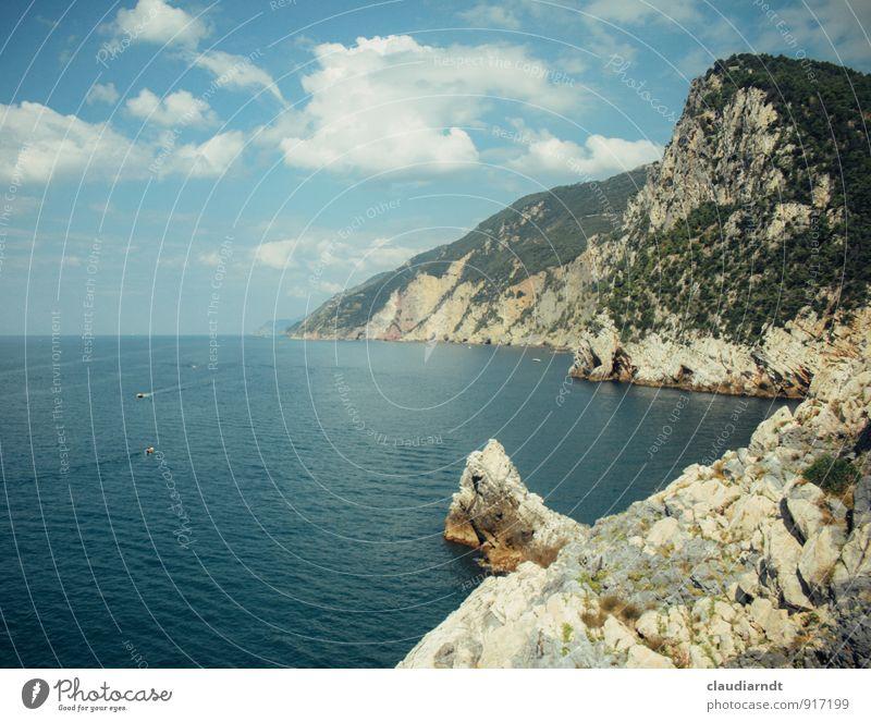 Ligurische Küste Natur Landschaft Urelemente Wasser Himmel Wolken Sommer Schönes Wetter Wald Felsen Bucht Meer Mittelmeer Italien Europa schön