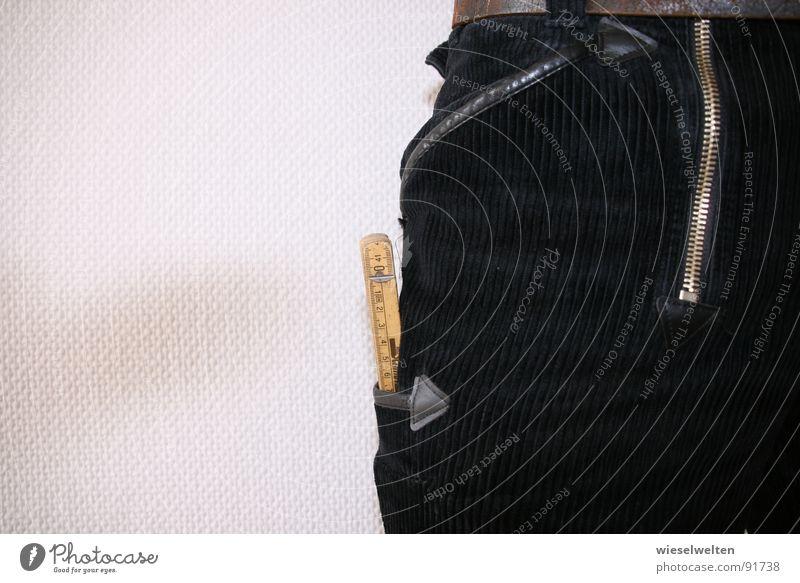 maßstab Arbeit & Erwerbstätigkeit Bekleidung Hose Handwerk Werkzeug Tradition Bauarbeiter Textilien Tischler Arbeiter Zollstock Zimmerer
