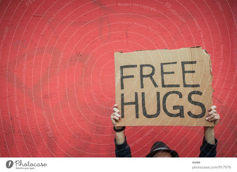 Für Alle ... Mensch Hand rot Freude Liebe lustig Stil Glück Stimmung Freundschaft Lifestyle Freizeit & Hobby Schilder & Markierungen Arme Fröhlichkeit