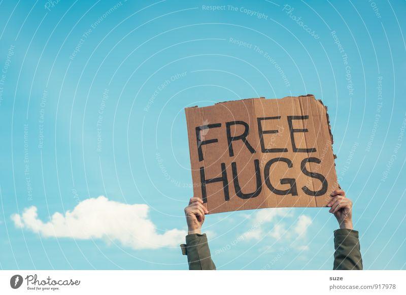 Einfach so ... Himmel blau Hand Wolken Freude Graffiti Liebe Stil Glück Stimmung Lifestyle Freundschaft Freizeit & Hobby Schilder & Markierungen Fröhlichkeit