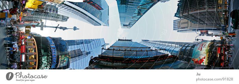 _ Hoch Stadt Haus Straße oben Business hoch groß modern Hochhaus Perspektive Niveau unten Werbung drehen Panorama (Bildformat) Sportveranstaltung