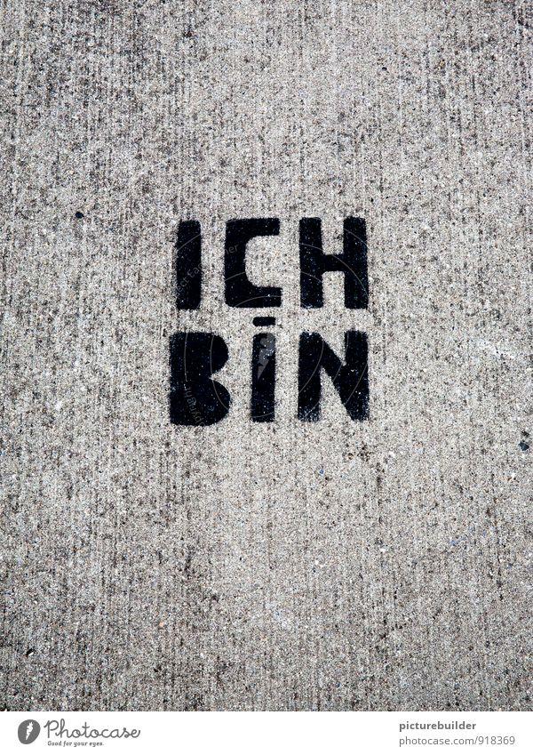 Ich Bin Straße Schriftzeichen Graffiti positiv Stadt grau Gefühle klug Stolz Zufriedenheit Sinnesorgane Farbfoto Außenaufnahme Menschenleer Textfreiraum links