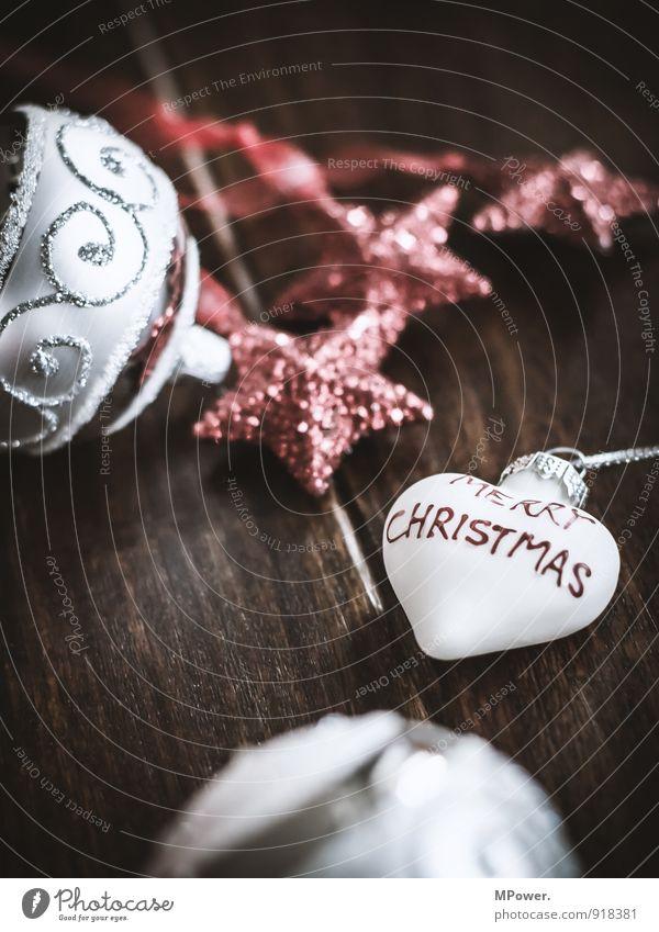 christmas time Weihnachten & Advent rot Holz Metall glänzend Dekoration & Verzierung Glas Schriftzeichen Herz Warmherzigkeit Stern (Symbol) Zeichen nah Kugel