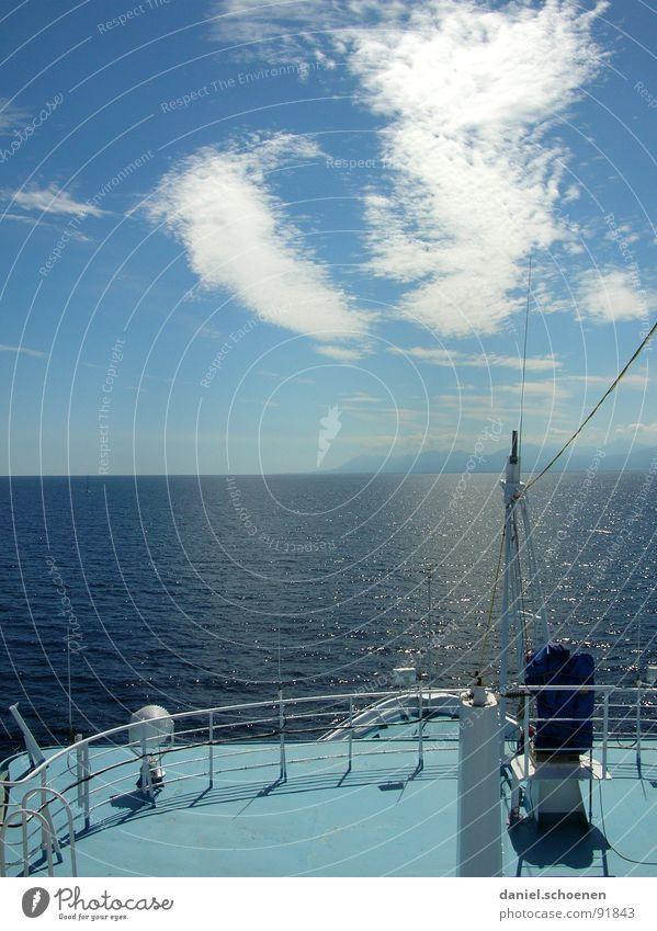 fernweh Wasser schön Himmel weiß Meer blau Sommer Ferien & Urlaub & Reisen Wasserfahrzeug Wetter Horizont Insel Schifffahrt zyan Mittelmeer