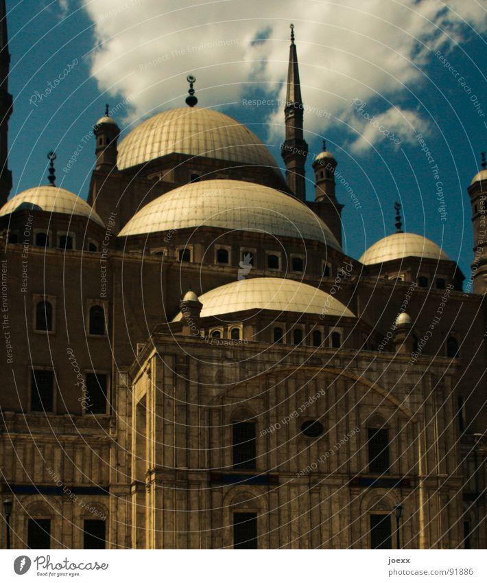 Bedacht Himmel blau Haus Wolken Wand Fenster Gebäude Religion & Glaube glänzend Gold Dach Turm Afrika Kultur historisch Gebet