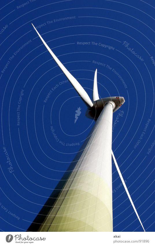 Windkraft am Roßkopf 6 Himmel Linie Kraft Energiewirtschaft Elektrizität Perspektive Industrie Technik & Technologie Windkraftanlage Paradies Geometrie Standort
