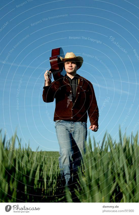 YEEHAA Cowboy Kerl Mann Gras Sommer Frühling Vieh Hirte Jacke Wildleder Hemd Cowboyhut Stroh Strohhut Spielen Musik Klang akustisch Knöpfe Hand Streifen böse