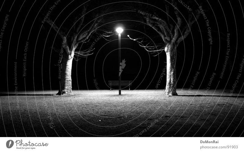 Photonen-Junkies. Reloaded Schwarzweißfoto Außenaufnahme Menschenleer Textfreiraum links Textfreiraum rechts Textfreiraum unten Nacht Kunstlicht Licht Schatten