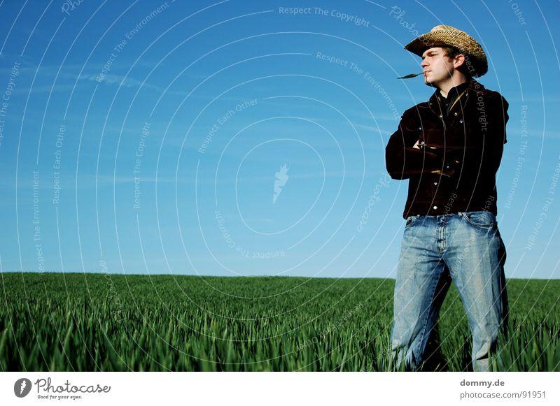 jippi ei jo du schweinebacke! Cowboy Kerl Mann Gras Sommer Frühling Vieh Hirte Jacke Wildleder Hemd Cowboyhut Stroh Strohhut Spielen Klang akustisch Knöpfe Hand