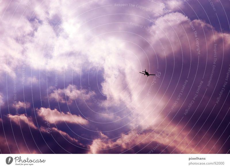 flying through the air Luftverkehr Himmel Wolken Flugzeug Sportflugzeug blau violett weiß Abend Dämmerung Licht Gegenlicht Wolkenformation Wolkenberg klein