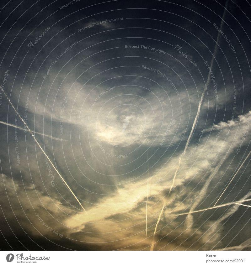 Pray. Natur Himmel Ferien & Urlaub & Reisen Leben Flugzeug fliegen Luftverkehr Aussicht Weltall Fernweh Abenddämmerung himmlisch Froschperspektive Kondensstreifen Himmelszelt Luftverschmutzung