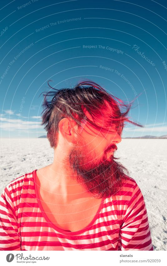 Headbengel 1 Mensch Ferien & Urlaub & Reisen weiß rot Ferne Haare & Frisuren Horizont maskulin Eis Schönes Wetter einzigartig Frost Wüste Wut Bart Surrealismus