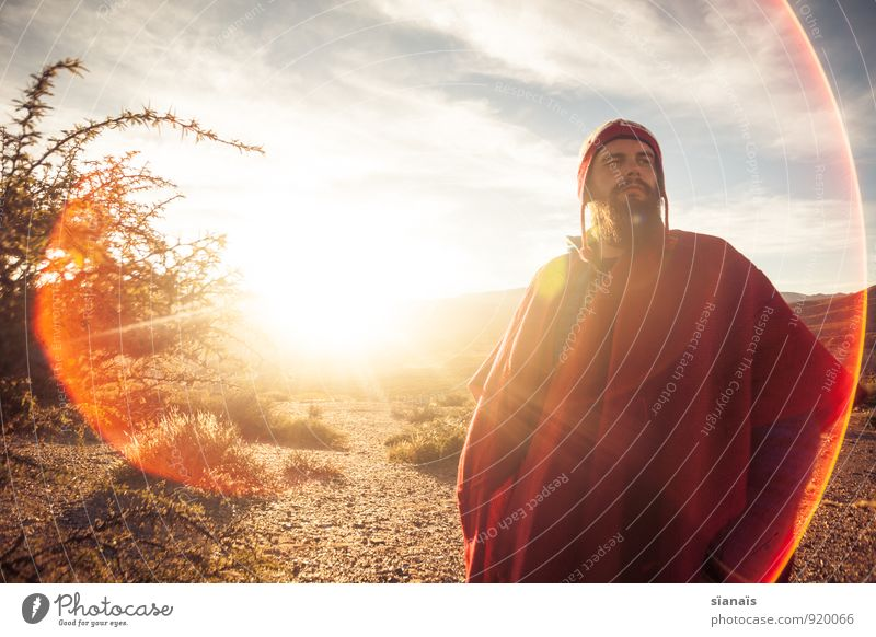 Himmel über Humahuaca Mensch Ferien & Urlaub & Reisen Mann Sonne rot Ferne Erwachsene Freiheit maskulin Lifestyle Tourismus Bekleidung Abenteuer Hoffnung Wüste