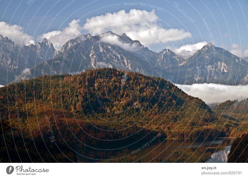schönes Deutschland Natur Ferien & Urlaub & Reisen blau Einsamkeit Landschaft Wolken Ferne Wald Berge u. Gebirge Herbst Freiheit See braun Wetter Nebel
