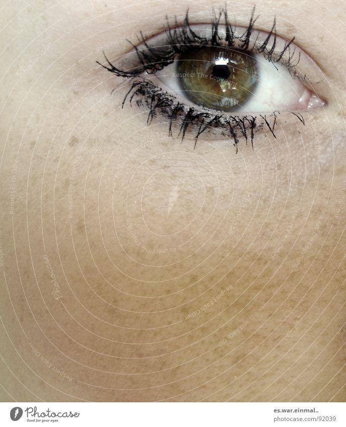 bernstein-braun-grün. gelb Bernstein Pupille Regenbogenhaut Wimpern perfekt Gefäße weiß Äderchen Schminke Wimperntusche schwarz Sommersprossen Pore Hautfarbe