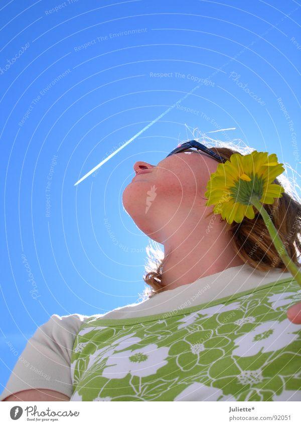 It´s so nice in heaven I Frau Himmel Blume grün Sommer Freude Flugzeug Geburtstag Sehnsucht